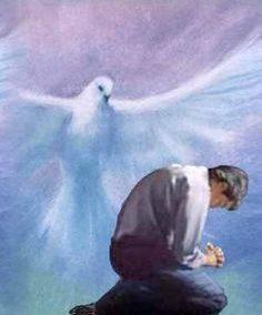 Homme priant et colombe de l'Esprit-Saint