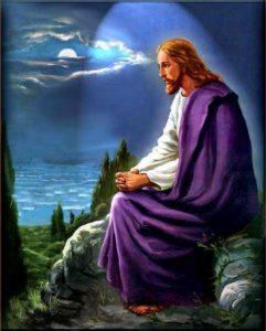 Jésus en prière le soir